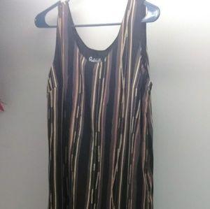 gabrielle Dresses - Gabrielle Silky Tan & Black Two Layered Maxi Dress